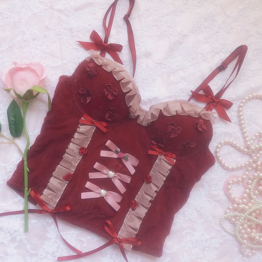 [Sold Out] Cherry Jam Ribbon Handmade Corset - Peiliee Shop