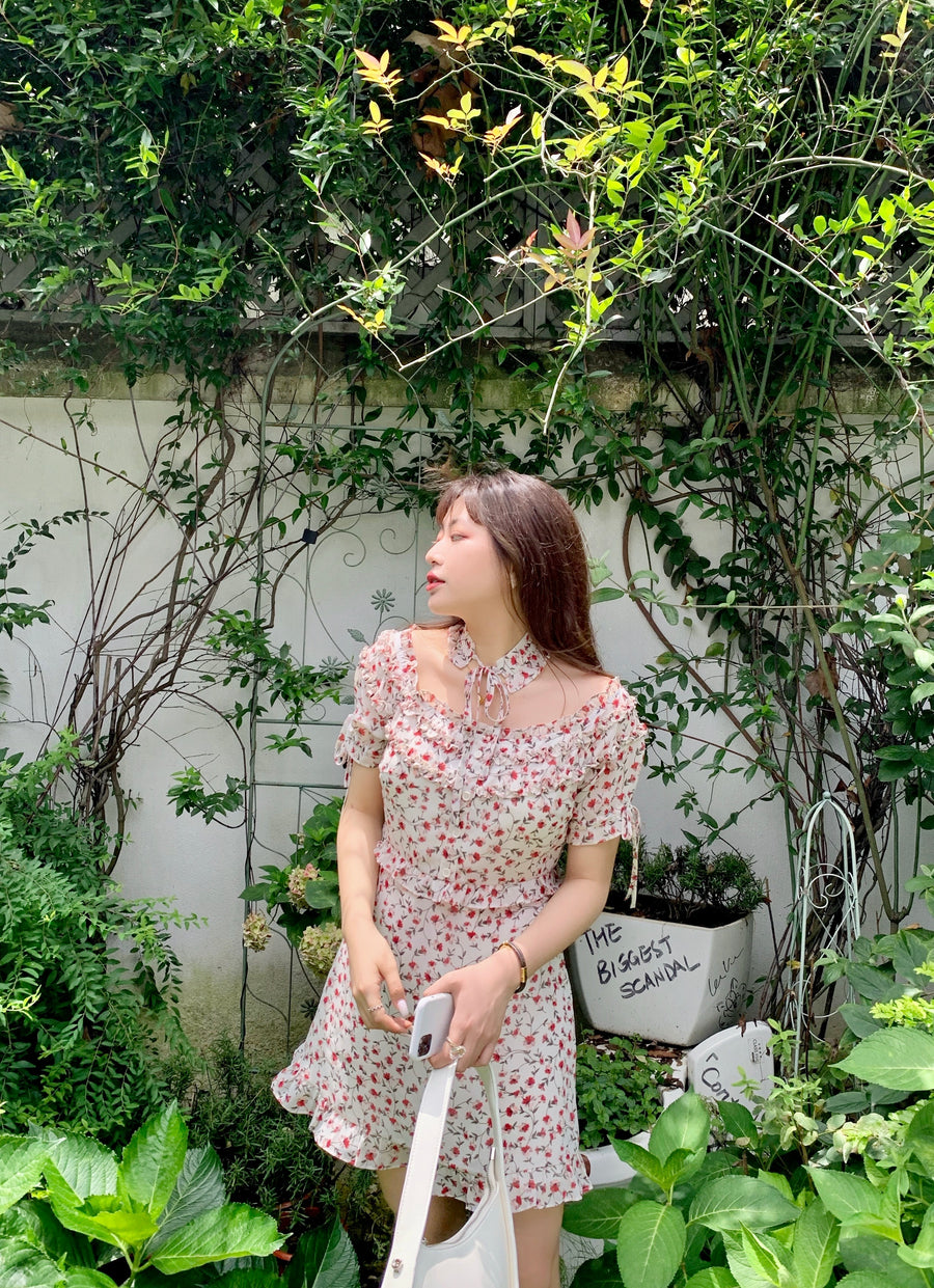 Cherry Genki Day Floral Dress with choker - Peiliee Shop