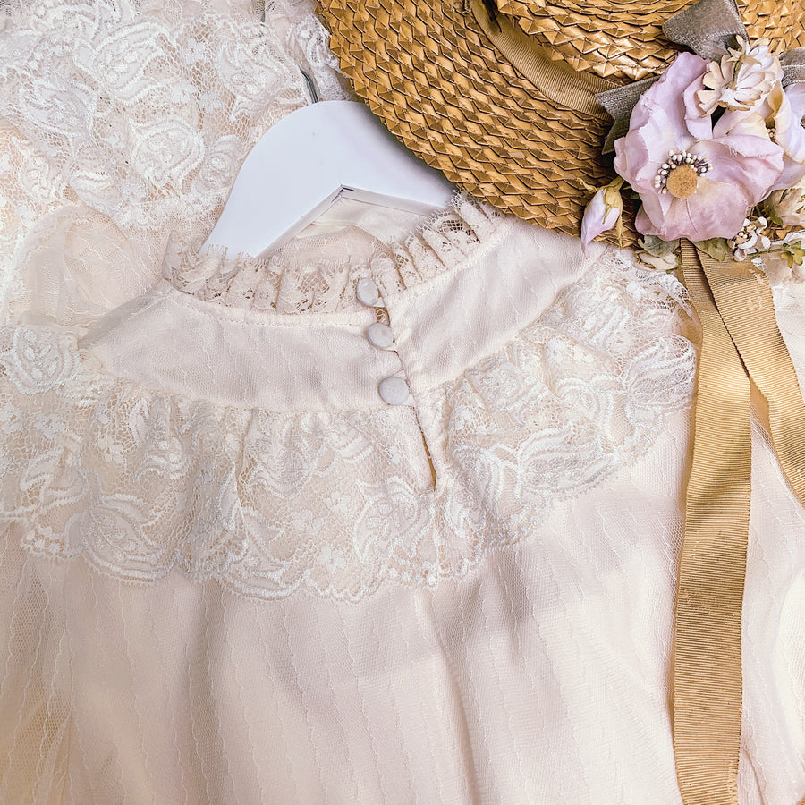 [Premium Selected] The Stray Canaries Cream Floral OP Dress By Le Flacon - Peiliee Shop