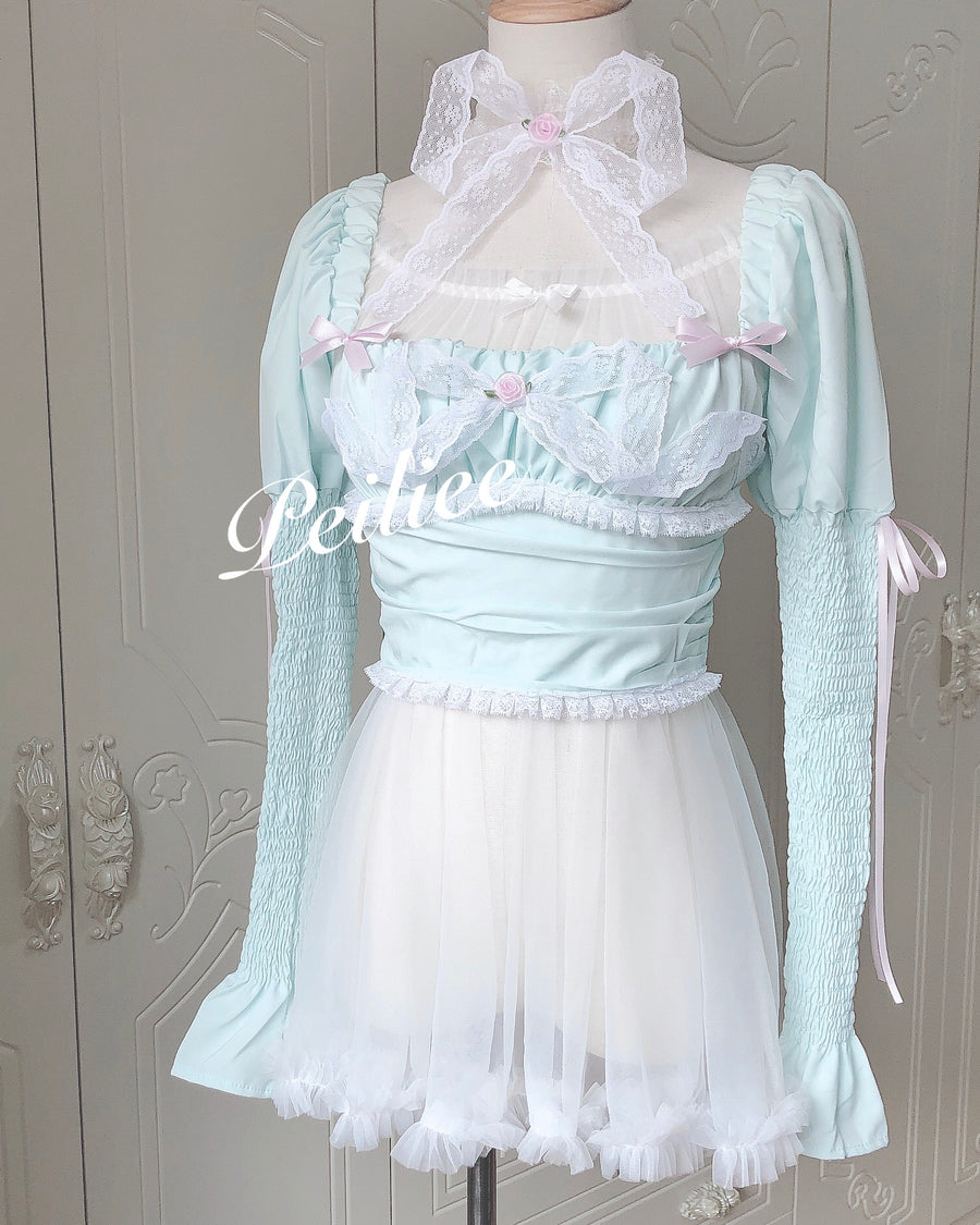 [Handmade lingerie] Mint To Be Satin Shirt - Peiliee Shop