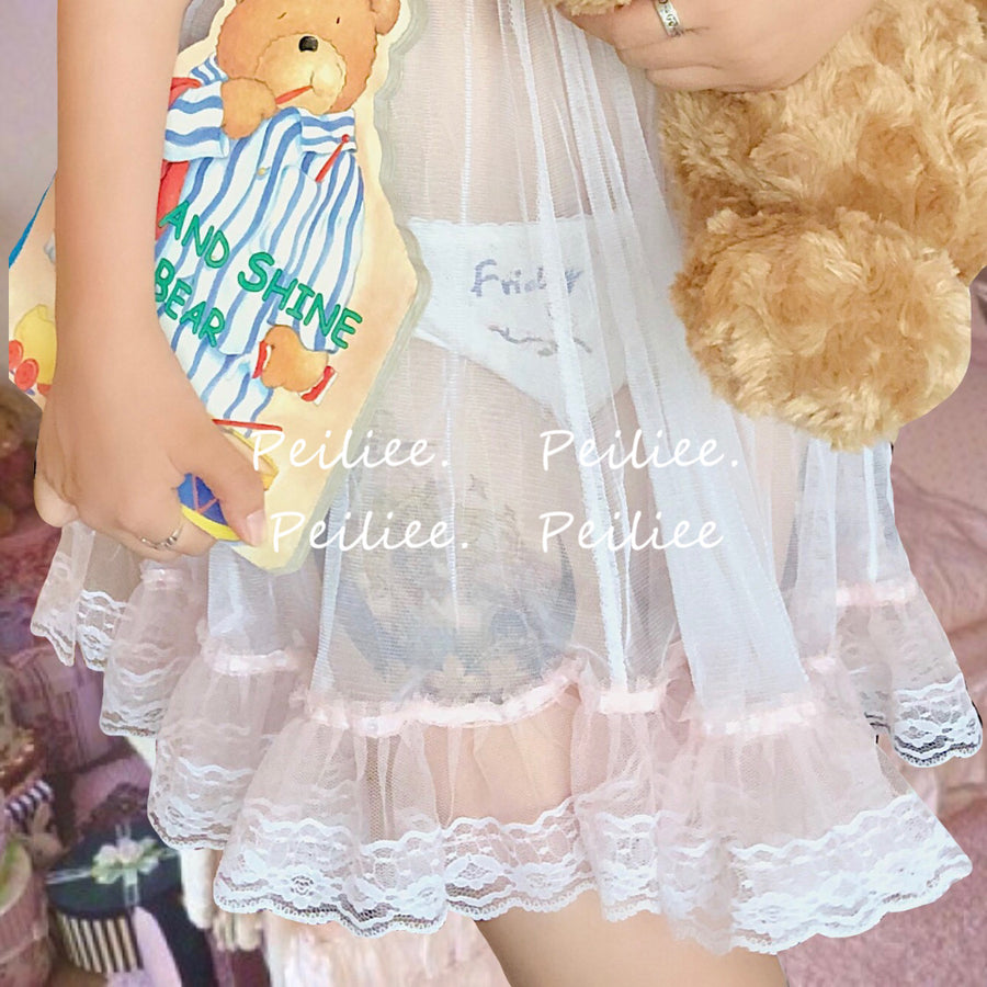 Peach Ice Lace babydoll lingerie dress - Peiliee Shop