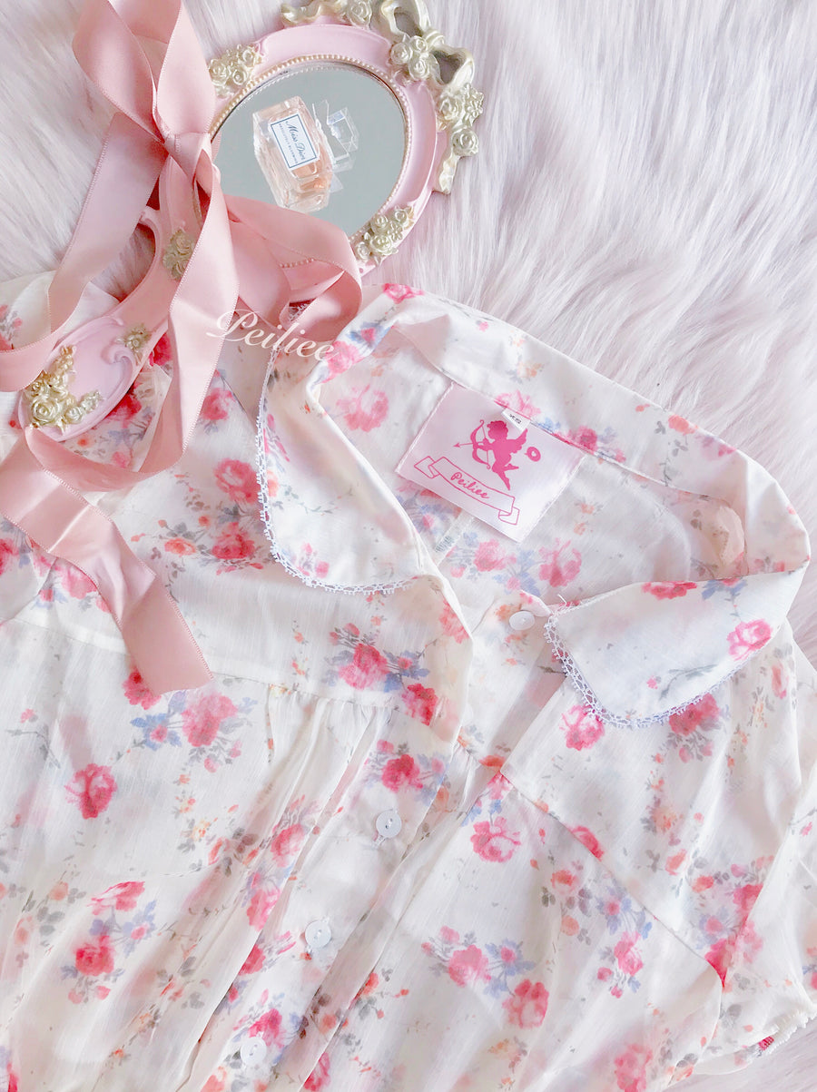 Classic Vintage French Flowery Babydoll - Peiliee Shop