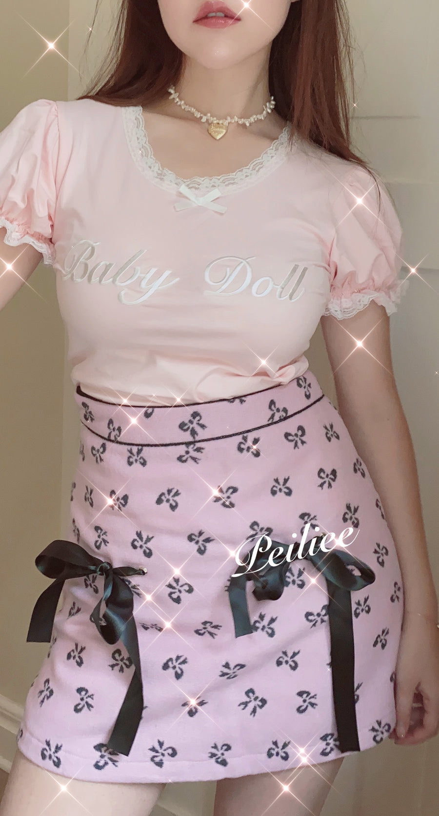 [Exclusive to PeilieeShop] Sweet Doll Pastel Pink Double Ribbon Mini Skirt - Peiliee Shop