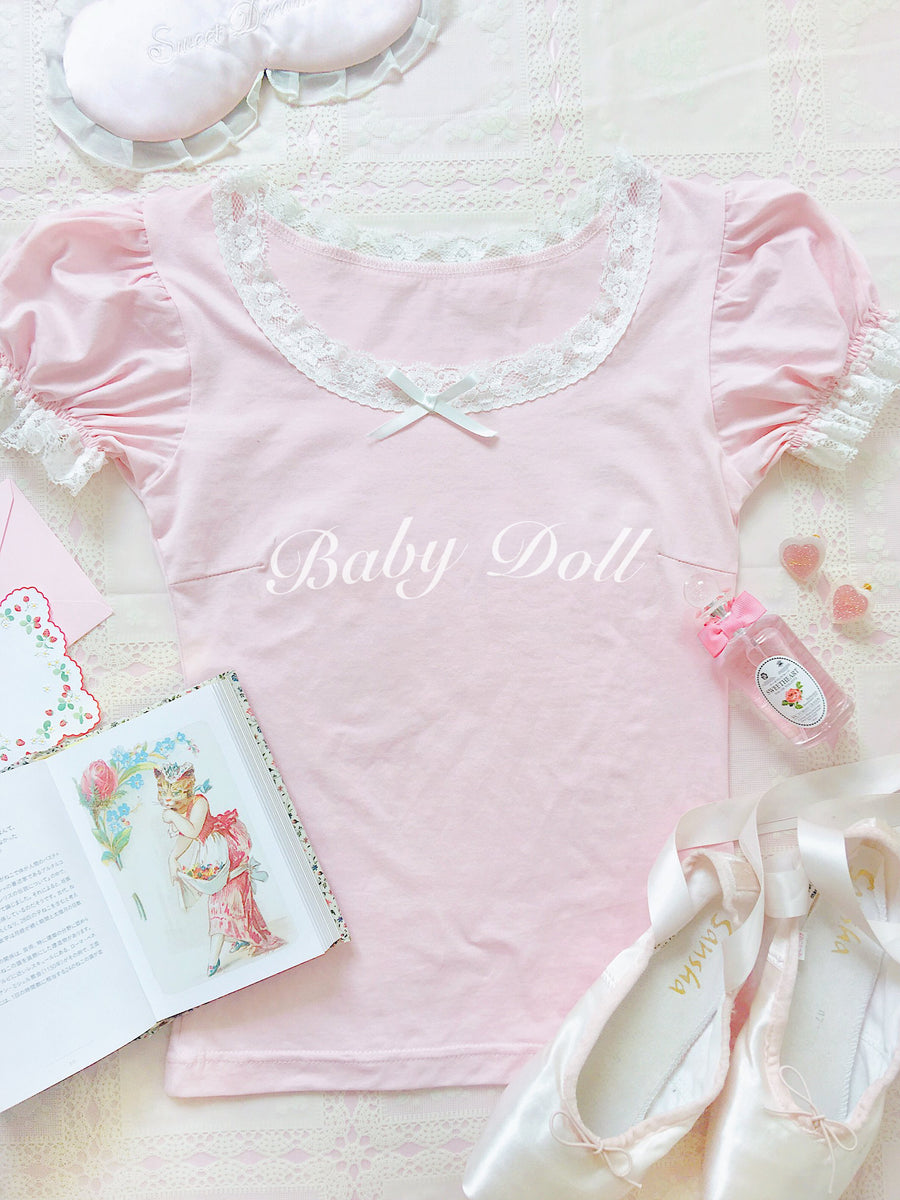 [2020 New Version Peiliee 3 Years Anniversary] Min Sötnos Sweet Babydoll Larme Cotton Top - Peiliee Shop