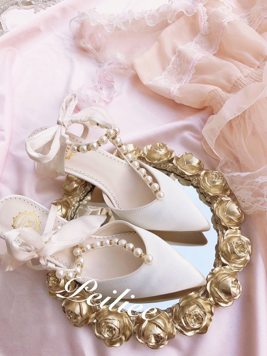 Angelic Pearly Heart Sweet Satin Mid-heels Sandals - Peiliee Shop