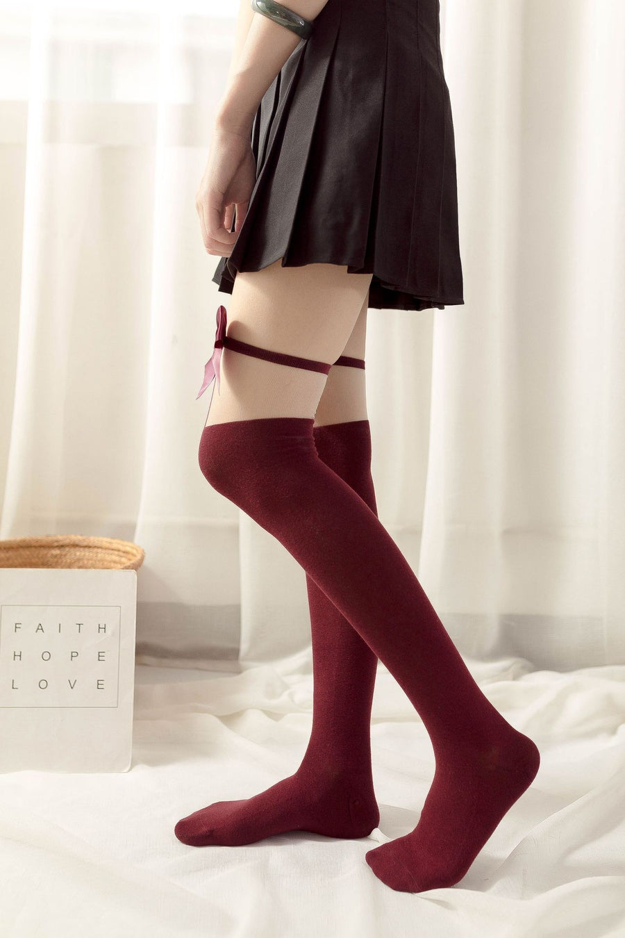 Ribbon Over-knees stocking - Peiliee Shop