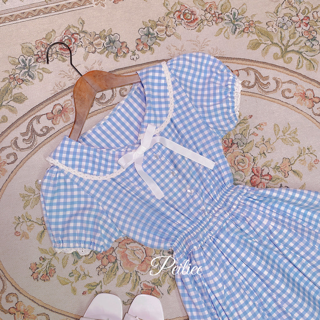 [Peiliee Customized] Cloud Sailor Blue Gingham Babydoll Dress - Peiliee Shop