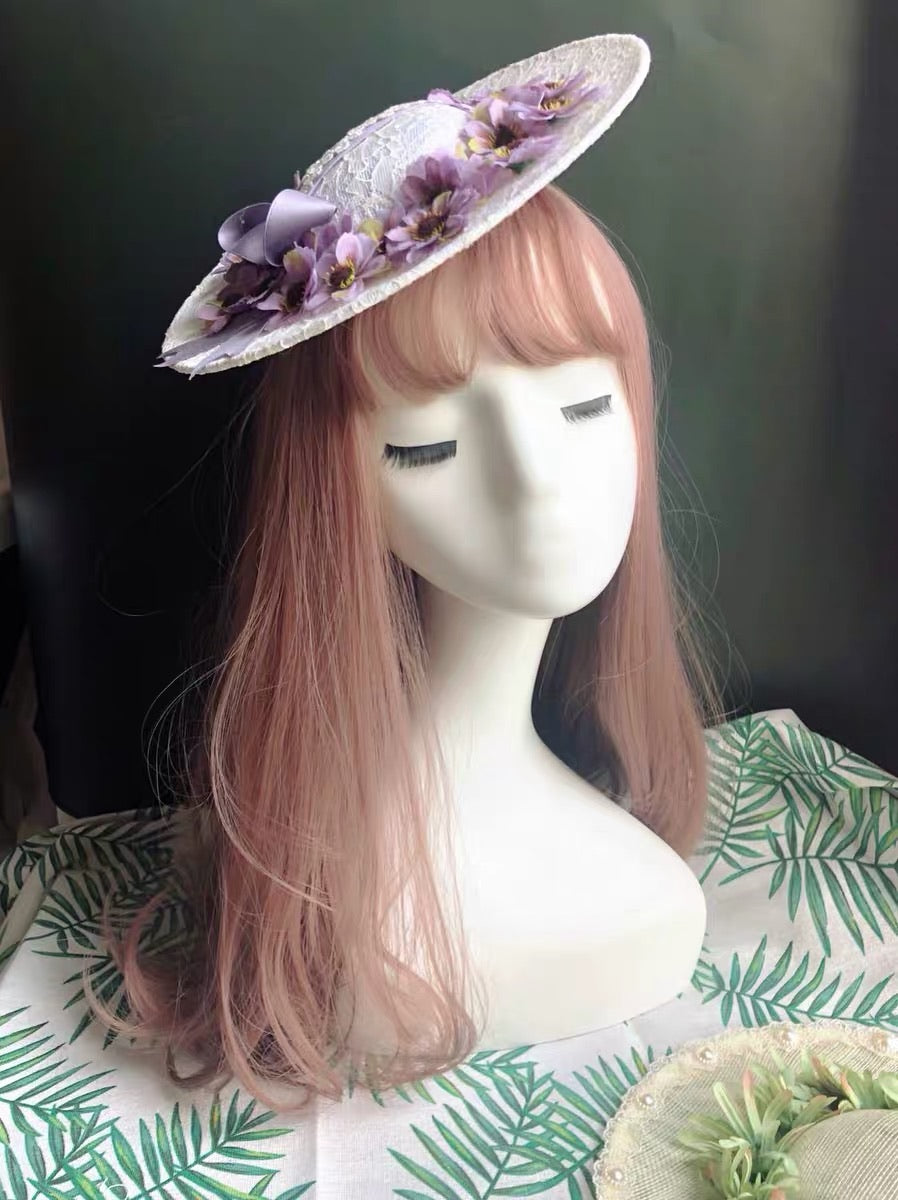 [Only 1 Made] 80s Medicago sativa Cottage Core Dream Tea Party Straw Hat - Peiliee Shop