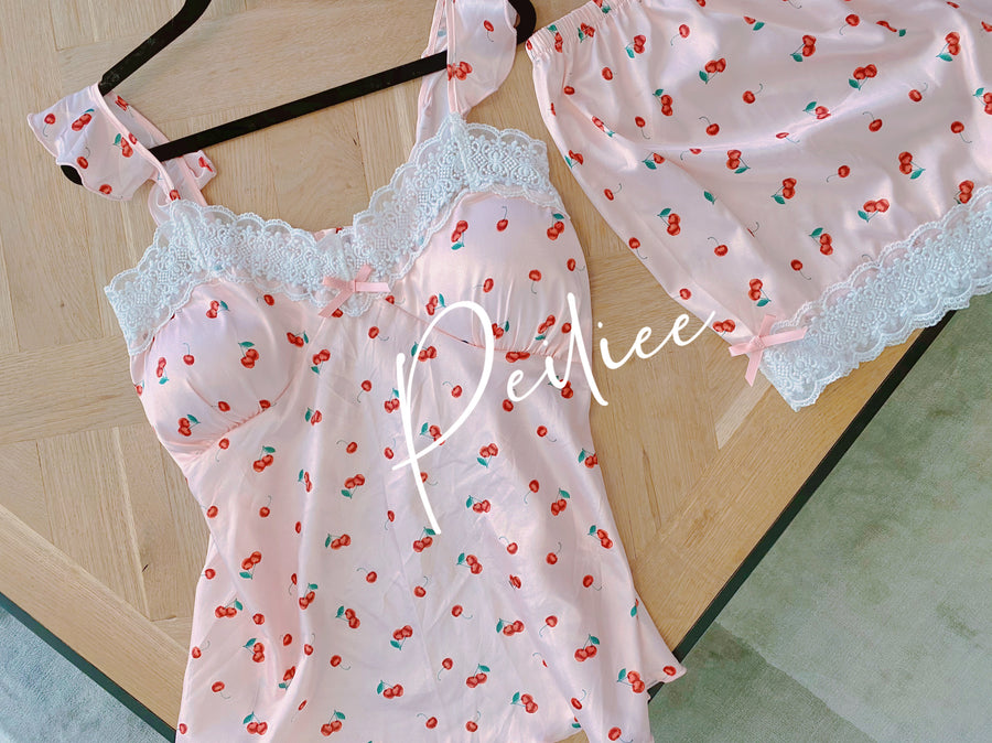 Cherry Night Sleepwear Loungewear set