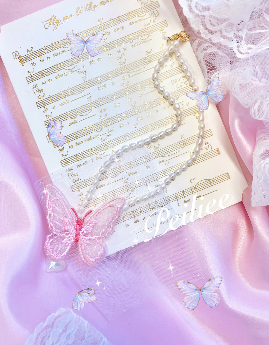 Fairy dream butterfly pearl necklace - Peiliee Shop