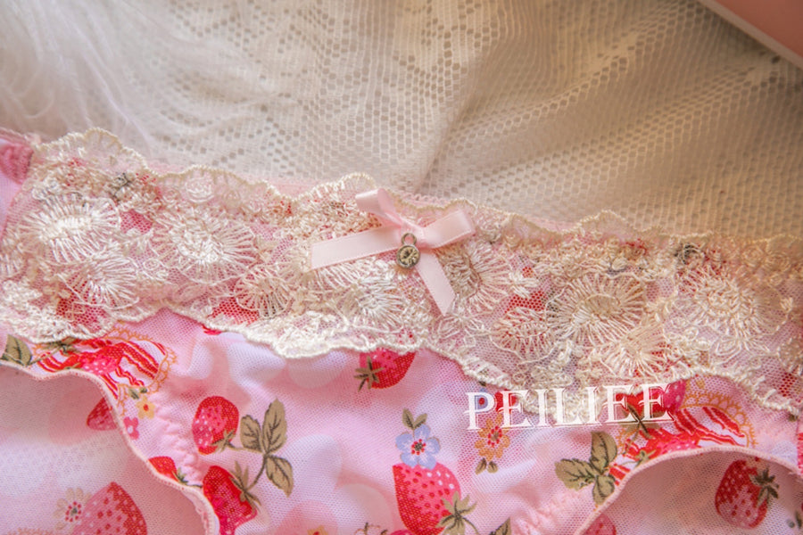 (Curve size included) Strawberry Garden Bra Set [Premium Selected Japanese Brand] - Peiliee Shop