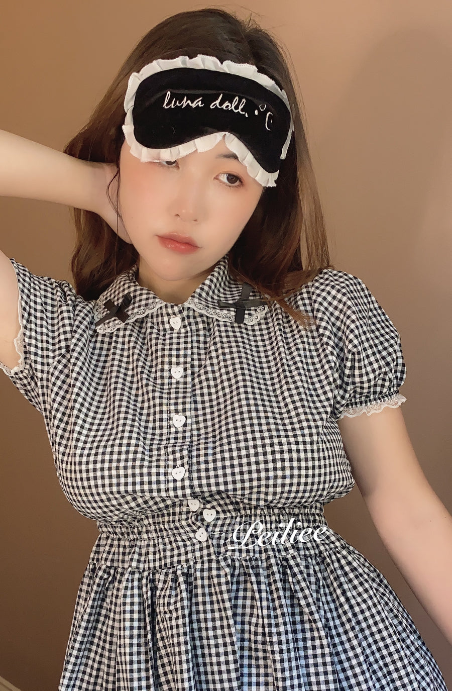 [By Peiliee] Afternoon Tea At Tiffany Gingham Babydoll Mini Dress Lolita 1997 style - Peiliee Shop
