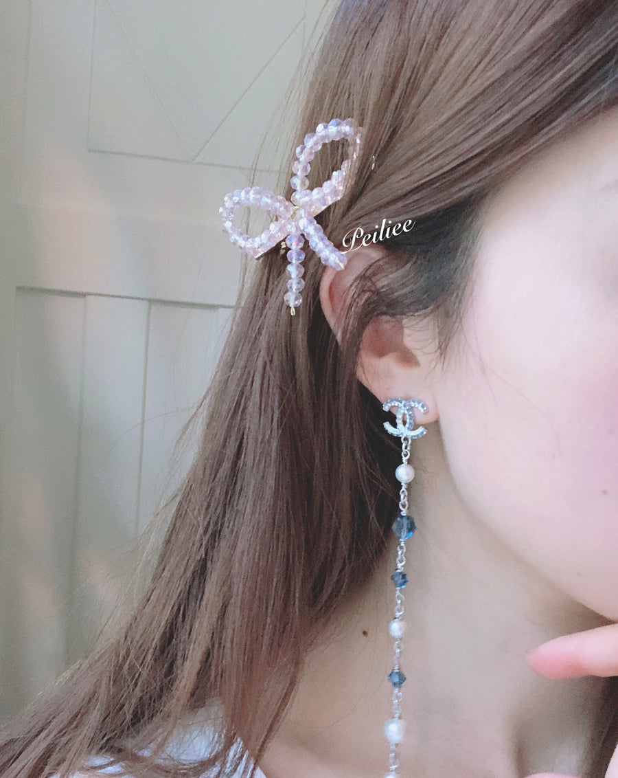 Love your fairy eyes crystal ribbon hair clip - Peiliee Shop