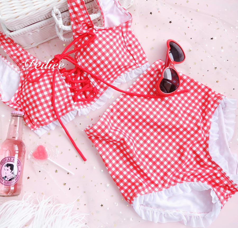 [SS2020] Love Strawberry Bikini Set High Waist - Peiliee Shop