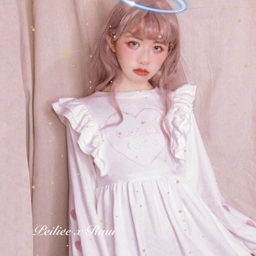 [Raui Design] Cotton Candy Met Peach Mousse Long Sleeve babydoll dress - Peiliee Shop