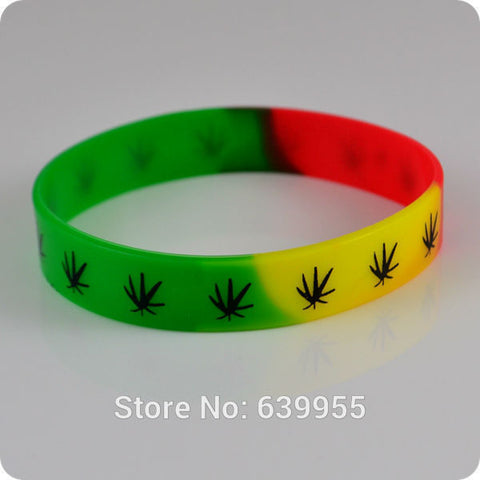 10x Cannabis leaf Jamaica weed Rasta Reggae Punk Hiphop Silicone Bracelet red yellow green wristband Fashion jewelry