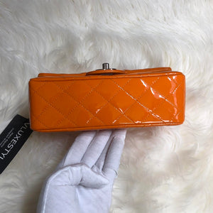 Chanel Classic Mini Rectangular Orange Quilted Patent with silver hardware