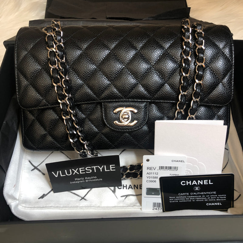 Partial payment: Chanel Classic Medium Black Quilted Caviar with silver hardware