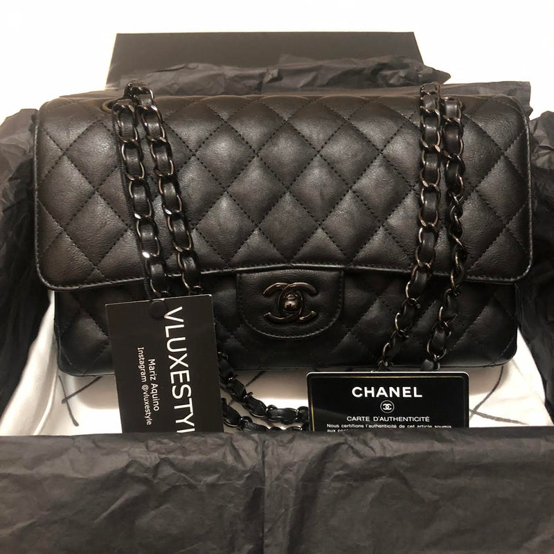 RESERVED Chanel Classic 17S So Black Crumpled Calfskin with shiny black hardware