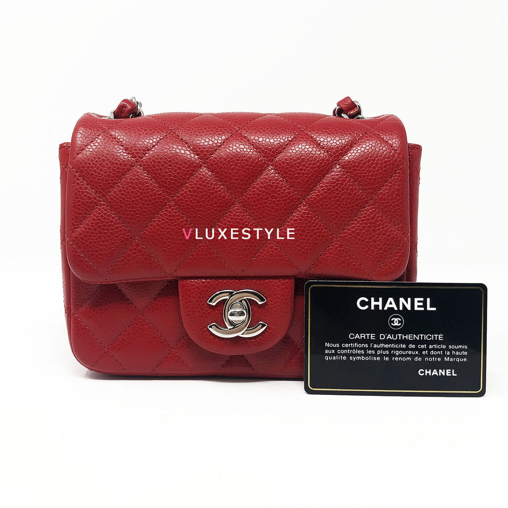 Chanel 14C Red Mini Square Caviar with silver hardware