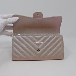 Chanel L-Gusset Flap Wallet 17B Iridescent Rose Gold Chevron Caviar with silver hardware