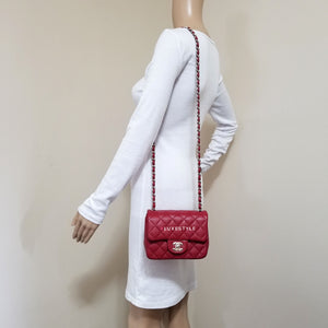 Chanel Classic Mini Square 17B Red Quilted Caviar with silver hardware