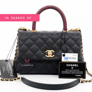 IN SEARCH OF Chanel Mini Coco Handle 17B Black Quilted Caviar with real burgundy lizard handle