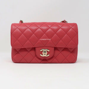 Chanel Classic Mini Rectangular 17C Pink Quilted Caviar with Edge stitching and light gold hardware