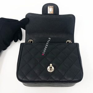 17C Black Caviar Mini Square with light gold hardware
