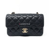 17C Classic Mini Rectangular Black Quilted Caviar with light gold hardware