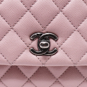 Chanel 17C Mini Coco Handle Sakura Pink Quilted Caviar with ruthenium hardware