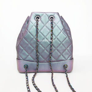 Final payment order # 1151: 17K Gabrielle Backpack Iridescent Purple Calfskin Mermaid Rainbow Hardware in size Small