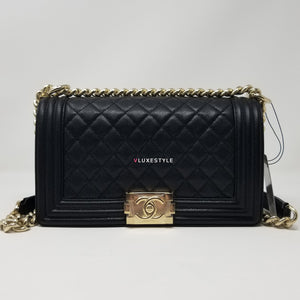 Chanel 17P Le Boy Old Medium Iridescent Black Quilted Caviar with shiny light gold hardware