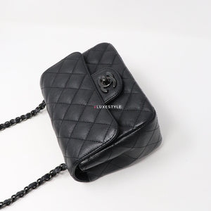 Chanel 17S Mini Square So Black Quilted Calfskin with black shiny hardware