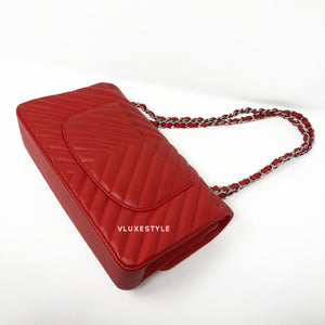 17S Classic Red Medium Chevron Caviar with silver hardware