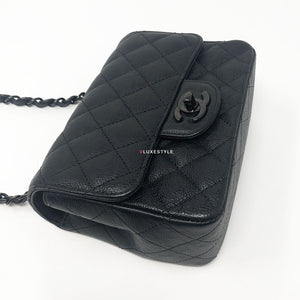 Chanel 17S So Black Mini Square Crumpled Quilted Calfskin