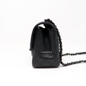 Remaining balance: Chanel Classic 17S So Black Mini Square Crumpled Calfskin with shiny black hardware