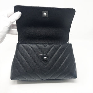 Chanel 18A So Black Chevron Caviar Mini Coco Handle