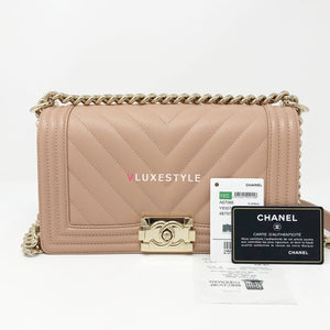 Chanel 18S Le Boy Old Medium Nude Blush Pink Chevron Caviar with light gold hardware