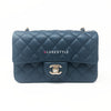 Classic Mini Rectangular 18S Dark Blue Caviar with light gold hardware
