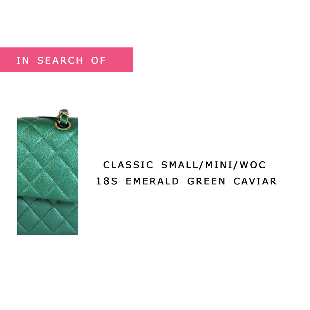 IN SEARCH OF Chanel Classic Small/Mini/Wallet on Chain 18S Emerald Green with light gold hardware