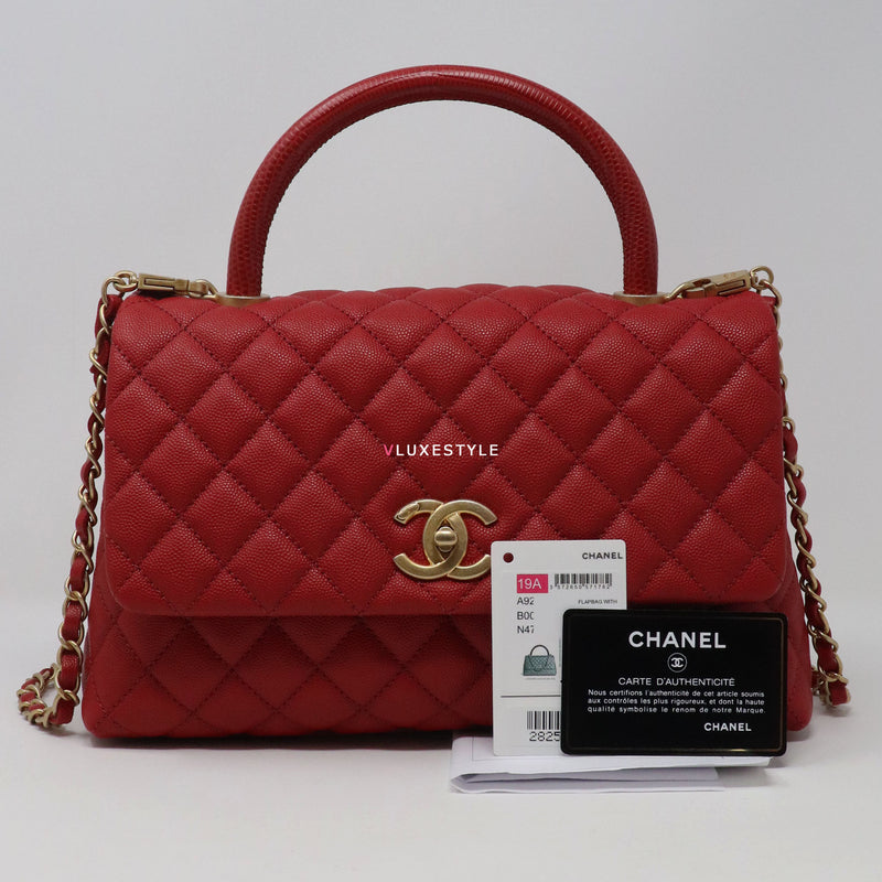 Chanel Coco Handle Small 19A Red Quilted Caviar with brushed gold hardware