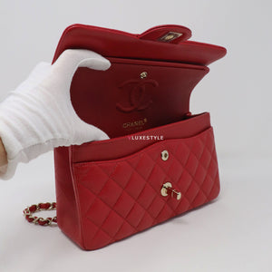 Classic Small Double Flap 19B Red Quilted Caviar with light gold hardware