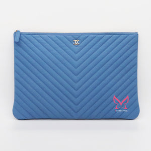 Chanel Large Pouch 19S Blue Matte Chevron Caviar with light gold hardware