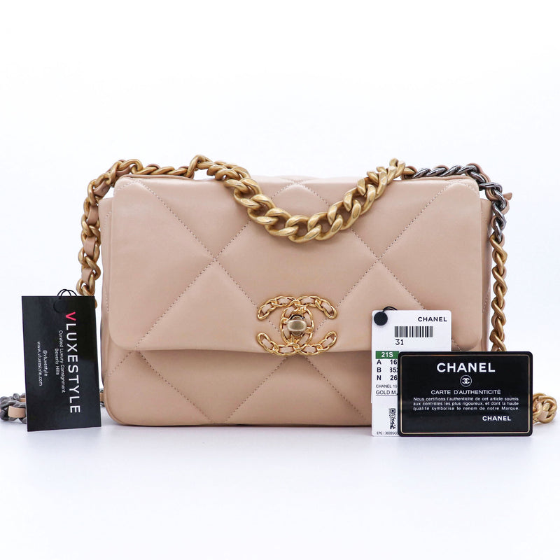 Chanel Small/Medium 19 Flap 21S Beige Lambskin with mixed hardware