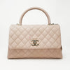Chanel 19P Small Coco Handle Beige Quilted Caviar with shiny gold hardware