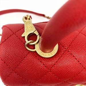 19P Mini Coco Handle Red Caviar with brushed gold hardware
