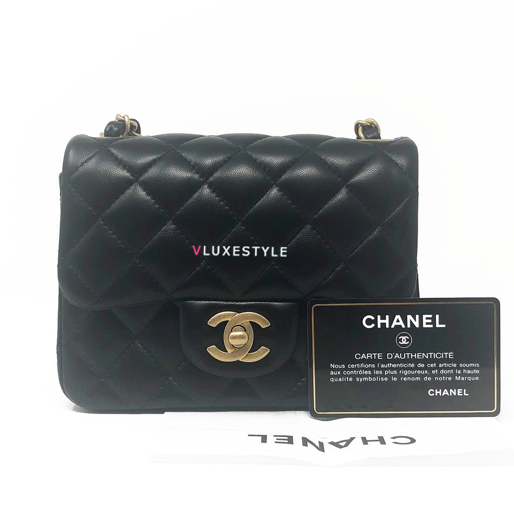 5bbab80ae364 19S Classic Black Mini Square Lambskin with brushed gold hardware