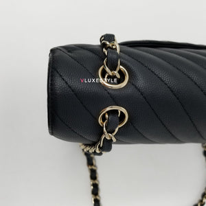 Chanel 19S Classic Medium Double Flap Black Matte Chevron Caviar with light gold hardware