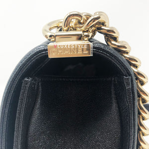 Chanel 19S Le Boy Old Medium Black Chevron with light gold hardware